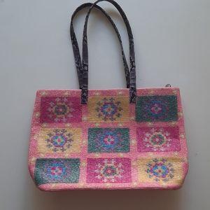 Fendi pink beaded tote bag with snakeskin handles
